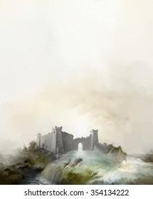 Old Fantasy tower ruins flood background for calendar or poster. Illustration.