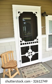 Old Farm House Door and Antique Chair