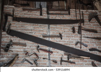 Old farm tools on wall