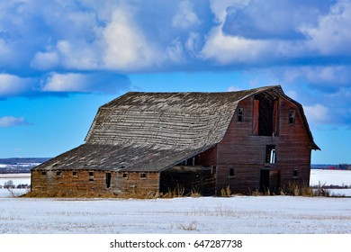 Old Farmers Barn With Winter Scenery