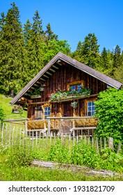 old farmhouse at the european alps - bavaria