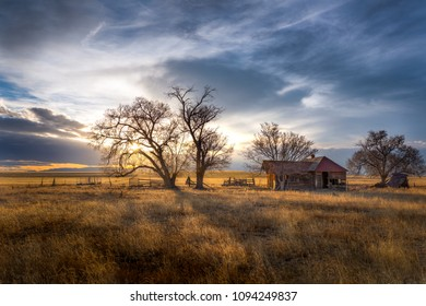Old Farmhouse at Sunset on the Great Plains