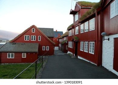 The old Faroese parliament buildings on Tinganes in Torshavn.