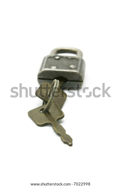 Old fashion design pad lock and keys isolated on white background