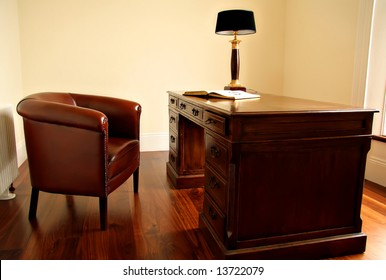 Old fashion desk and chair.