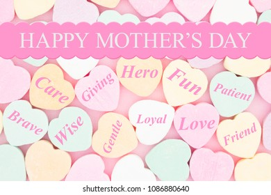 Old fashion Mother's Day greeting, Retro heart shaped candy with text Happy Happy Mother's Day and message of how she is a wonderful mom