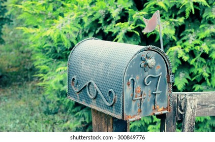 old fashion postbox.Vintage, background, image