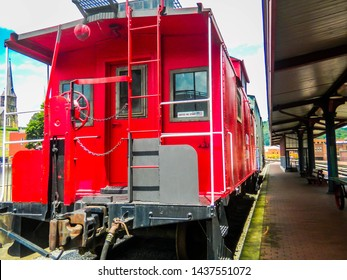 Old Fashion Red Boxcar At Amtrak Station-Cumberland MD
