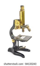 Old fashion (retro) microscope isolated on white background