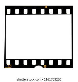 Old fashioned 35mm filmstrip or dia slide frame isolated on white background. Real analog film scan.