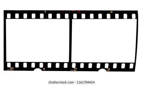 Old fashioned 35mm filmstrip or dia slide frame isolated on white background. Real photo of film material.