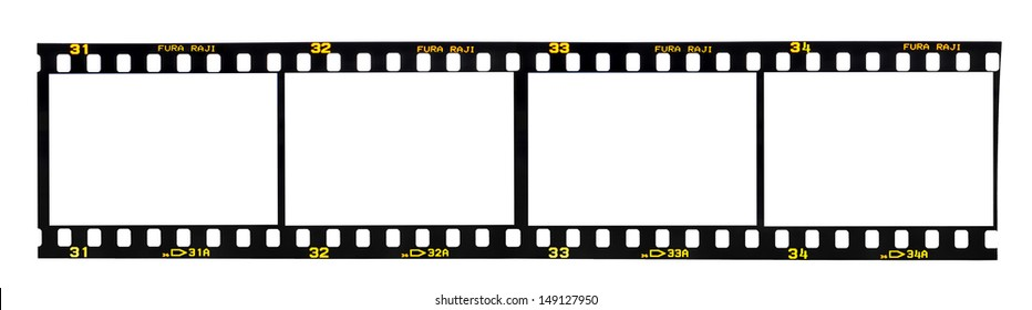 Old fashioned 35mm filmstrip isolated on white background. Brand name Fura Raji is not real, created by artist