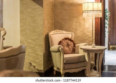 Old fashioned armchair in restaurant interior