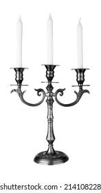 Old fashioned baroque elegant candlestick isolated on white background