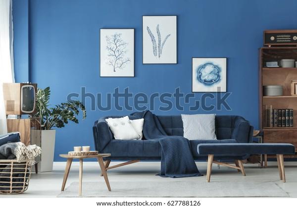 木の飾りと海軍のソファを持つ古風な青いラウンジ