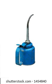 Old fashioned blue oil can showing years of use