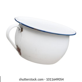 Old fashioned blue and white tin chamber pot, bit rusty and stained. Vintage!