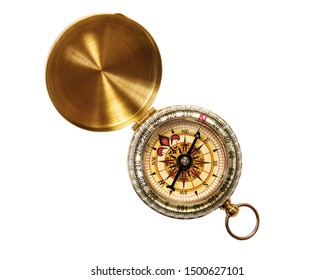 Old fashioned brass compass isolated on white background