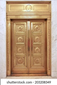 old fashioned brass elevator door