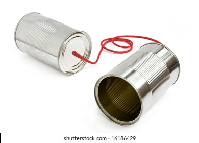 Old fashioned can phone connected by string