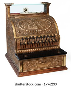 old fashioned cash register, isomorphic view on white background