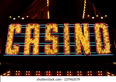 An old fashioned casino sign in the downtown area of Las Vegas Nevada