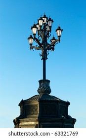 Old fashioned cast iron street lamp
