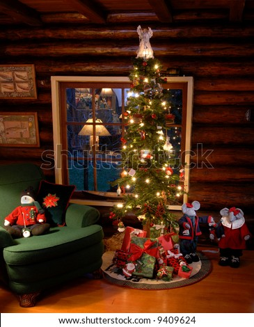 Old Fashioned Christmas Tree Log Cabin Stock Photo Edit Now