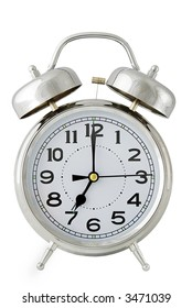 old fashioned chrome alarm clock isolated on white - easy cutout