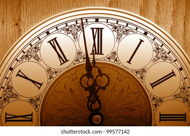 old fashioned clock about to hit 12 midnight