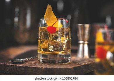 old fashioned cocktail on the bar