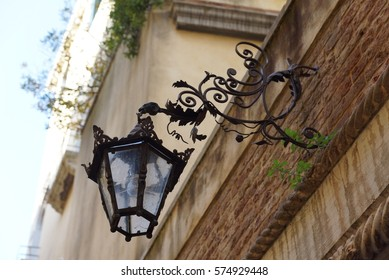 Old fashioned external wall lights in venice