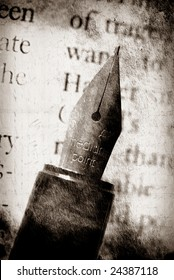 Old fashioned fountain pen with book