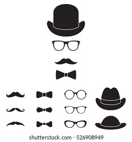 Old fashioned gentleman accessories icon set. Glasses, hat, mustache and bowtie. Vintage or hipster style.
