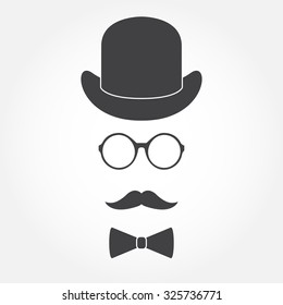 Old fashioned gentleman accessories icons set: hat, glasses, mustache and bowtie. Vintage design.