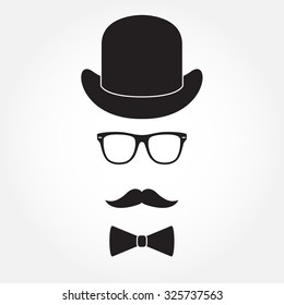 Old fashioned gentleman accessories icons set: hat, glasses, mustache and bowtie. Retro hipster style.
