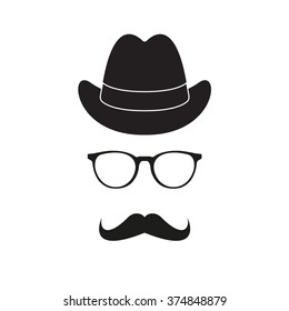 Old fashioned gentleman accessories icons set: hat, glasses and mustache. Retro hipster style.