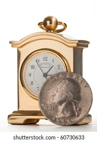 An old fashioned golden clock. Close up view of dial