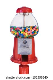 An old fashioned gumball machine isolated on a white background.