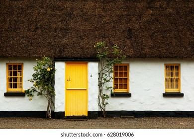 old fashioned irish family house with tached roof