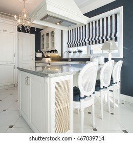 Old fashioned kitchen with luxury dining room
