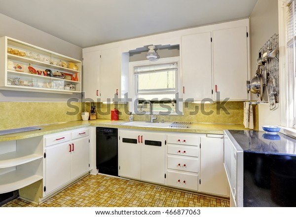 Old Fashioned Kitchen White Cabinets Cupboard Stock Photo Edit