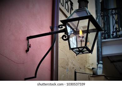 An old fashioned lantern on the city streets