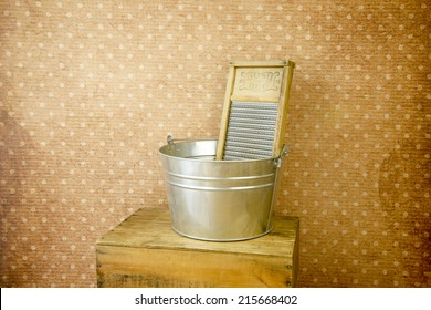 old fashioned laundry equipment, washboard and tub