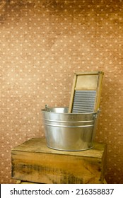 Old fashioned laundry equipment - washboard and bucket