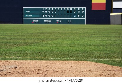 Old fashioned manual baseball scoreboard in a baseball outfield