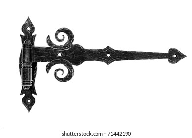 Old fashioned metal hinge isolated on white background.