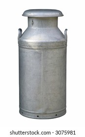 Old fashioned milk churn, isolated on white.