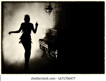 old fashioned photo grain added for 20s style. Black and white color. Dark mysterious dancing silhouette retro woman in short dress. backdrop old room full smoke, piano. Free space for invite text