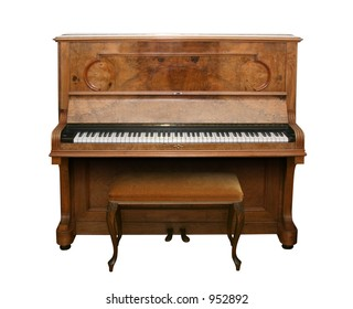 Old fashioned piano isolated on white with clipping path